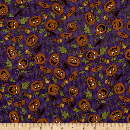 Pumpkin Party Flannel Pumpkin Patch Purple Fabric By The Yard