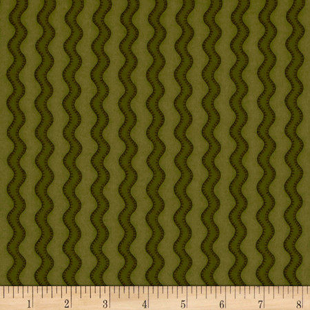 Pumpkin Party Flannel Stitched Stripe Green Fabric By The Yard