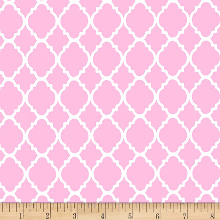 Quatrefoil Pink/White Fabric By The Yard