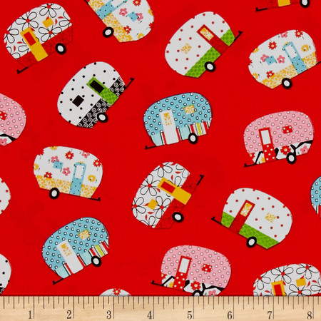 Quilt Camp Camper Allover Red Fabric By The Yard