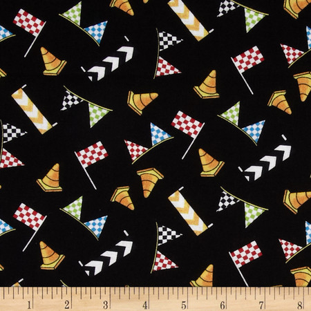 Race Day Flags & Cones Allover Black Fabric