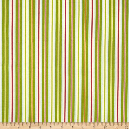 Rainbow Garden Stripe Green Fabric