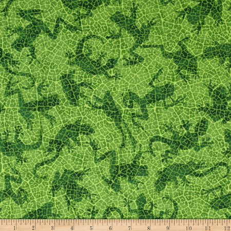 Rainforest Romp Frogs Green Fabric