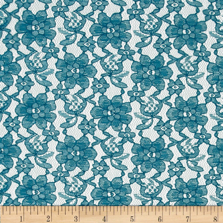 Raschelle Lace Teal Fabric By The Yard