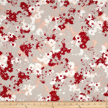 Rayon Challis Abstract Floral Taupe/Red Fabric