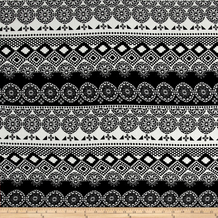 Rayon Challis Aztec Print Black/White Fabric By The Yard