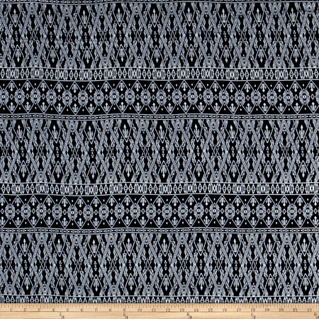 Rayon Challis Bohemian Chic  Navy Fabric By The Yard
