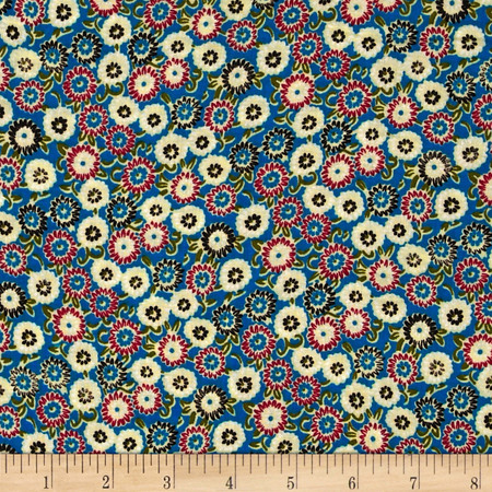 Rayon Challis Ditzy Floral Bright Blue/Red Fabric
