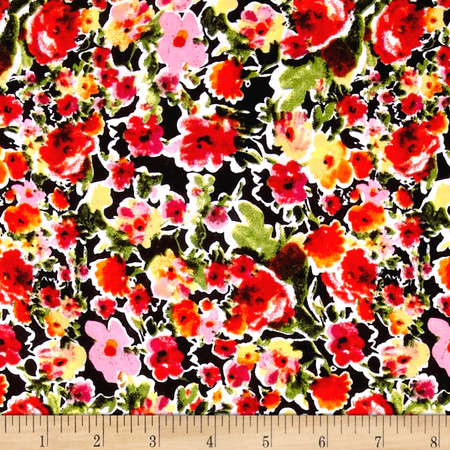 Rayon Challis Dreamer Floral Yellow Fabric By The Yard
