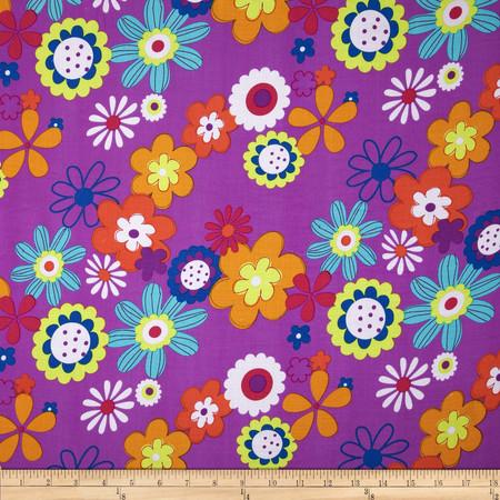 Rayon Challis Floral Fuchsia Fabric