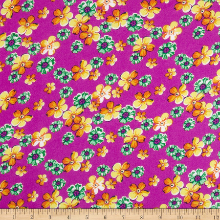 Rayon Challis Floral Green/Gold/Pink Fabric