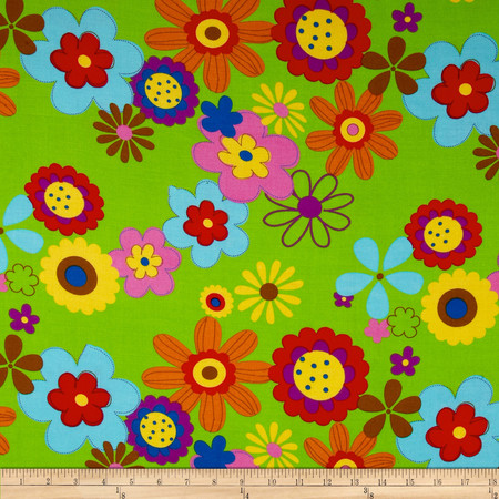 Rayon Challis Floral Green Fabric