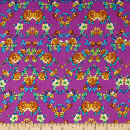 Rayon Challis Floral Orange/Yellow/Fuchsia Fabric
