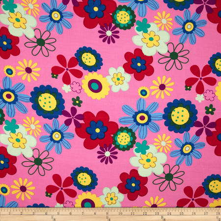Rayon Challis Floral Pink Fabric