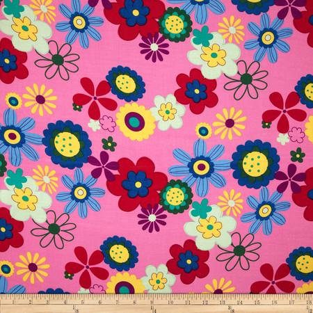 Rayon Challis Floral Pink Fabric