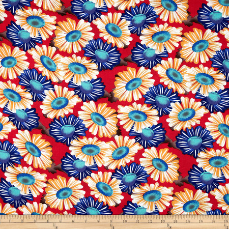 Rayon Challis Floral Red Fabric