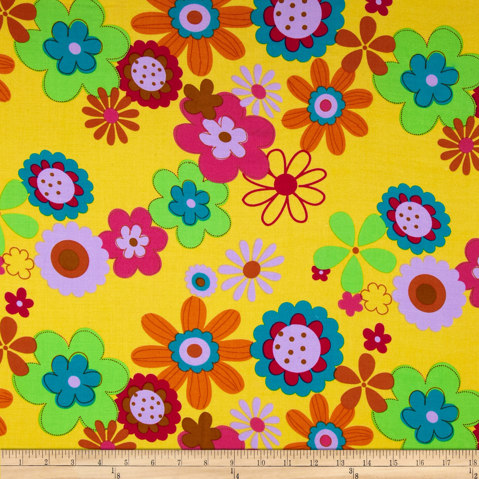 Rayon Challis Floral Yellow Fabric
