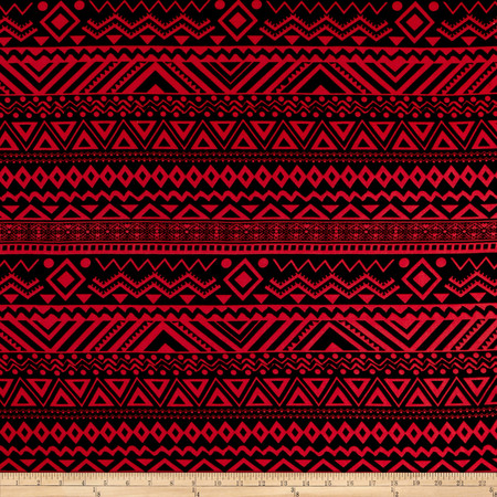 Rayon Challis Geo Aztec Prints Dark Coral/Black Fabric By The Yard