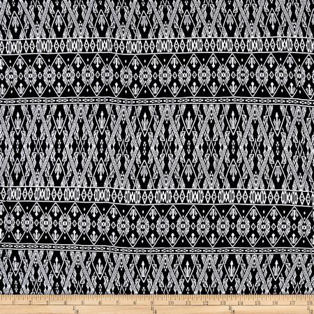 Rayon Challis Monochrome Black Fabric By The Yard