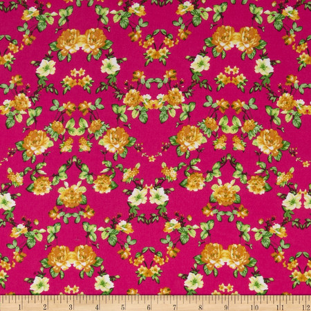 Rayon Challis Small Roses Orange/Yellow/Fuchsia Fabric