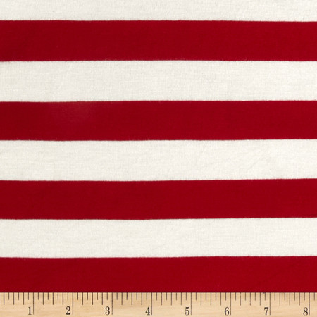 Rayon Jersey Large Stripe Red/Off White Fabric By The Yard