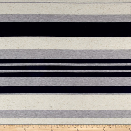 Rayon Knit Stripes Navy Oatmeal Fabric By The Yard