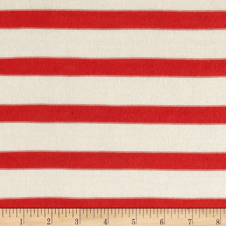 Rayon Lycra Hatchi Knit Yarn Dyed Stripes Orange/White Fabric