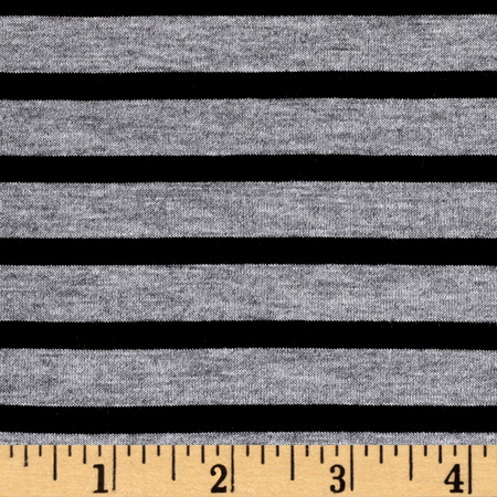 Rayon Spandex 1/2 X 1/4 Yarn Dyed Stripes Jersey Knit Heather Gray/Black Fabric By The Yard