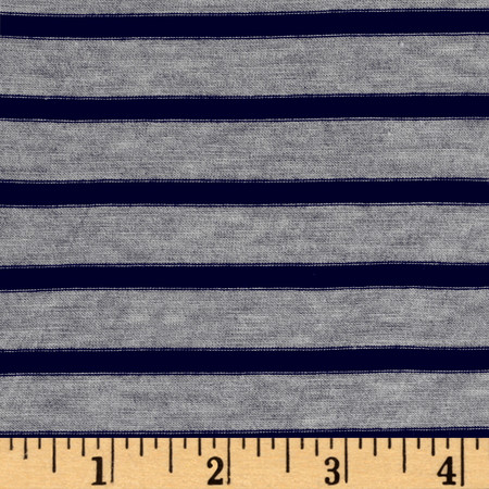 Rayon Spandex 1/2 X 1/4 Yarn Dyed Stripes Jersey Knit Light Heather Gray/Navy Fabric By The Yard