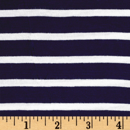 Rayon Spandex 1/2 X 1/4 Yarn Dyed Stripes Jersey Knit Navy/Ivory Fabric By The Yard