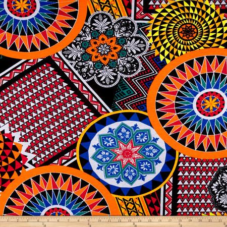 Rayon Spandex Abstract Triangles Orange/Black Fabric