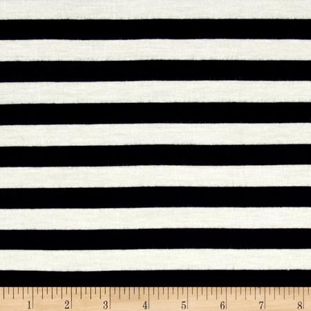 Rayon Spandex Jersey Knit 1/2'' Stripe Ivory/Navy Fabric By The Yard