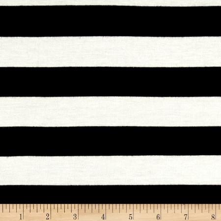 Rayon Spandex Jersey Knit 1'' Stripe Ivory/Black Fabric By The Yard