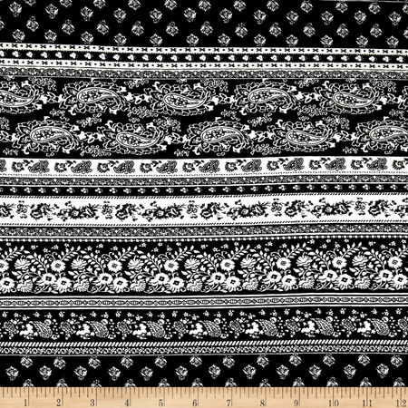 Rayon Spandex Jersey Knit Deco Flowers Stripes Black/White Fabric By The Yard