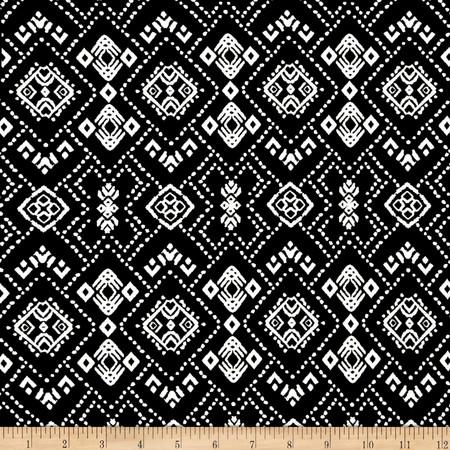 Rayon Spandex Jersey Knit Diamond Print Black/White Fabric By The Yard