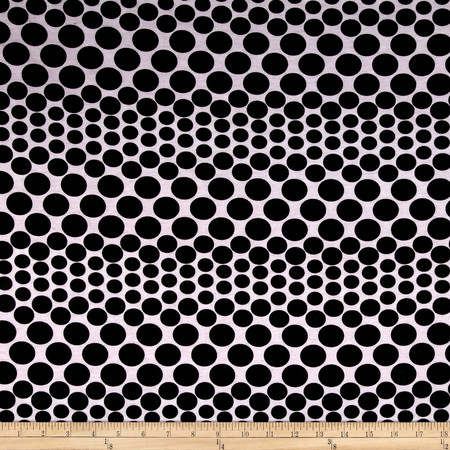 Rayon Spandex Jersey Knit Dots Pink and Black Fabric By The Yard