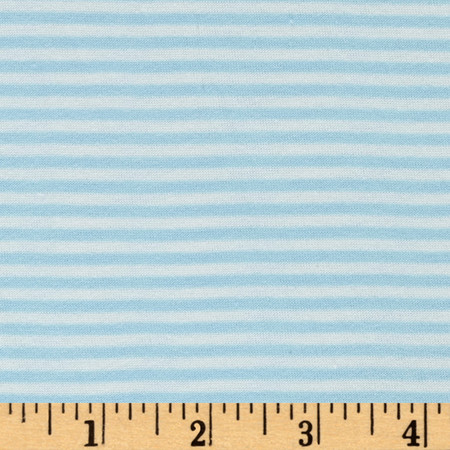 Rayon Spandex Skinny Stripe Jersey Knit Aqua/Ivory Fabric By The Yard