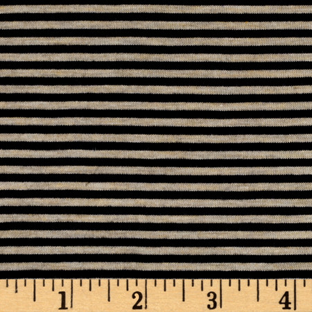 Rayon Spandex Skinny Stripe Jersey Knit Navy/Oatmeal Fabric By The Yard