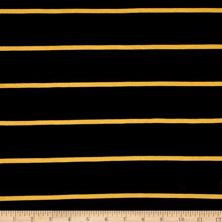 Rayon Spandex Yarn Dye Jersey Knit Black/Mustard Fabric By The Yard