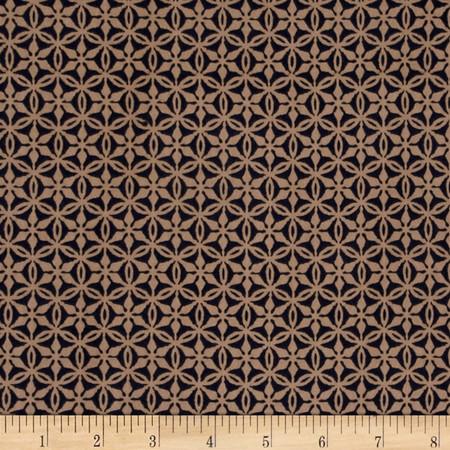 Rayon Voile Star Print Navy/Tan Fabric
