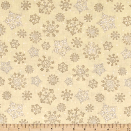 Reason For The Season Packed Snowflakes Tan Fabric By The Yard