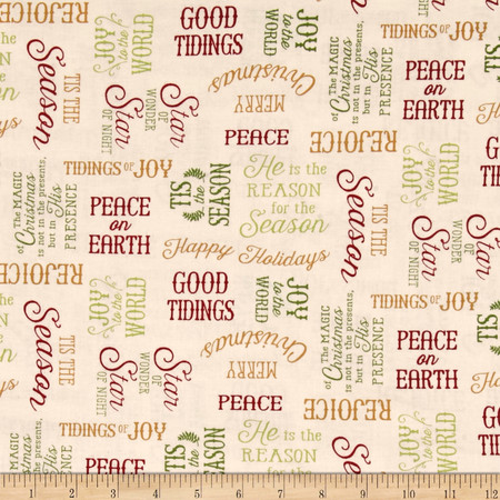 Reason For The Season Word Toss Cream Fabric By The Yard