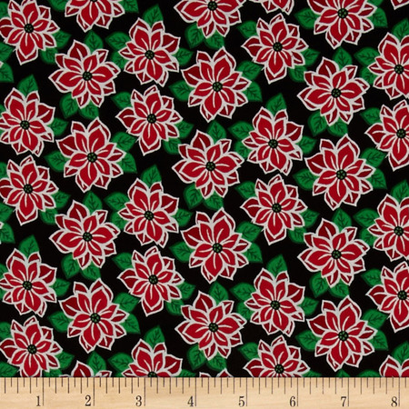 Reindeer Forest Poinsettias Black Fabric