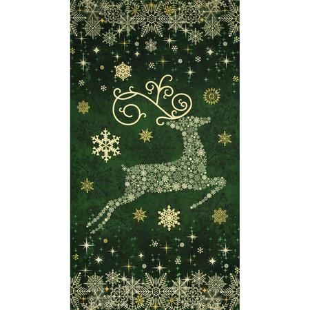 Reindeer Prance Metallic 24 In. Reindeer Panel Green Fabric