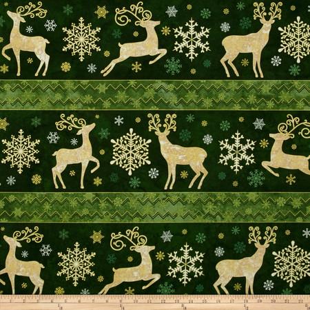 Reindeer Prance Metallic Reindeer & Snowflakes Green Fabric