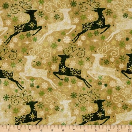 Reindeer Prance Metallic Reindeers Allover Gold Fabric