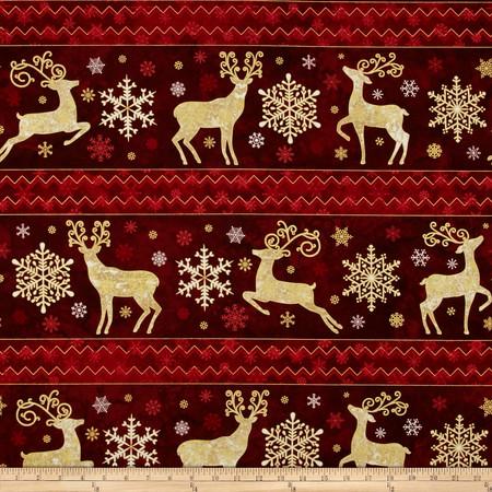 Reindeer Prance Metallic Shelf Stripe Cranberry Fabric