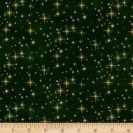 Reindeer Prance Metallic Shimmering Lights Green/Gold Fabric