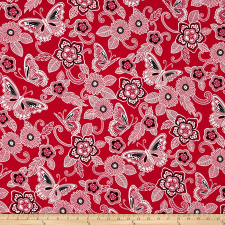 Rendezvous Butterfly Floral Red Fabric By The Yard