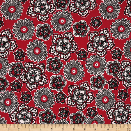 Rendezvous Floral Red Fabric